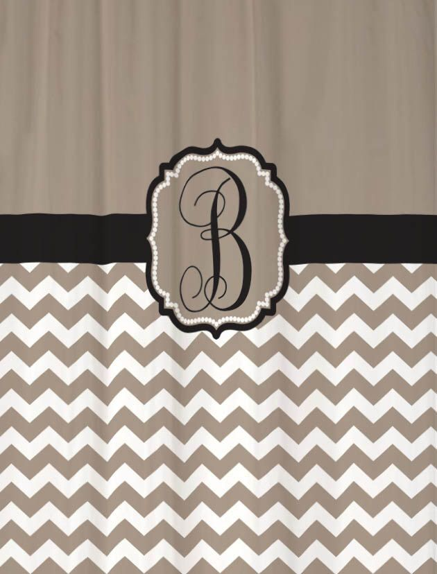 Shower Curtain Chevron YOU CHOOSE COLORS 70, 74, 78, 84, 88, or 96 inch Extra Long Custom Monogram Personalized for You Shown Taupe & Black by SwirledPeasDesigns on Etsy https://www.etsy.com/listing/128338927/shower-curtain-chevron-you-choose-colors
