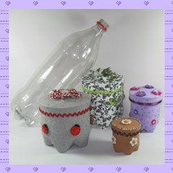 Crafts with pet bottle: decorated pots (Artesanato com garrafa pet: potes decorados)