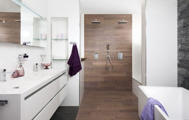 Wood in bathroom. Wood tiles.
