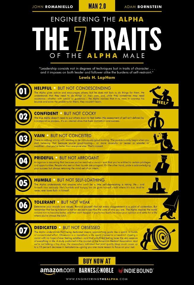 7 Traits of an Alpha Male -helpful, confident vain, prideful, humble, tolerant and dedicated