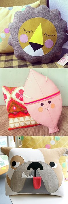 Tante Tin funky cute vintage kitsch retro plushie pillow and cushion designs , lion, leaf and dog