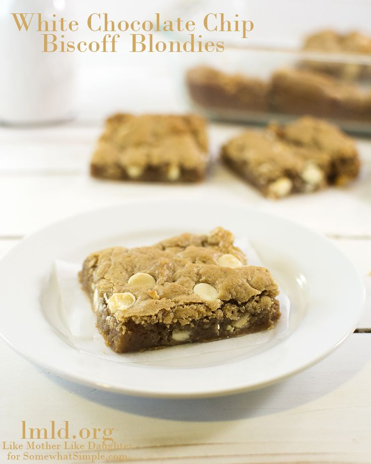 white chocolate chip biscoff blondies are full of delicious biscoff ...