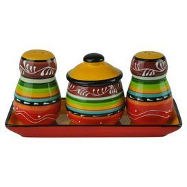 "Bring Southwestern-inspired charm to your dining room table or breakfast nook with this earthenware salt and pepper set, featuring colorful striping.   Product: Salt shakerPepper shakerSugar bowlTrayConstruction Material: EarthenwareColor: MultiDimensions: Salt Shaker: 3"" H x 1.75"" DiameterPepper Shaker: 3"" H x 1.75"" DiameterSugar Bowl: 3"" H x 2.5"" DiameterTray: 7.5"" W x 3.5"" D"