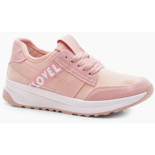 Boohoo Olivia Slogan Sports Trainer (565 UYU) ❤ liked on Polyvore featuring shoes, sneakers, flatform sneakers, holiday shoes, summer sneakers, floral print sneakers and boohoo shoes