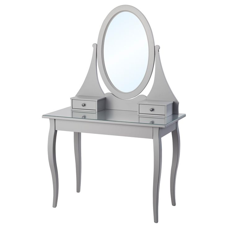 HEMNES Dressing table with mirror Grey 100x50 cm  - IKEA