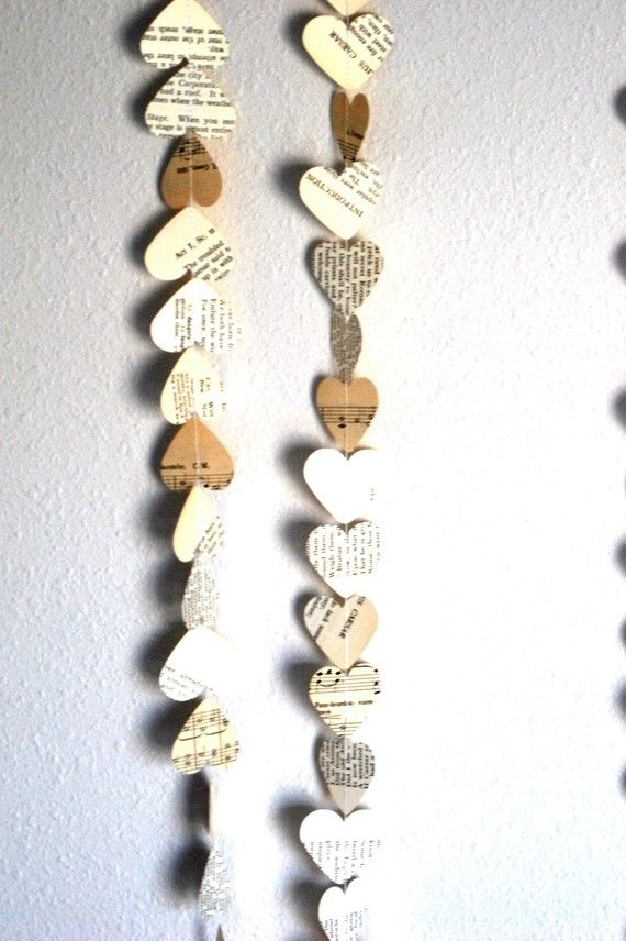 Romantic Vintage Hearts Garland by thePathLessTraveled on Etsy