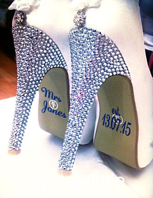 Personalised Name Shoe Stickers - Wedding Decal - Wedding Favour - Bride Gift - Bridal Shoes - Wedding Pictures - Wedding Party - Photo Prop by Crystalalittle on Etsy https://www.etsy.com/listing/239700627/personalised-name-shoe-stickers-wedding