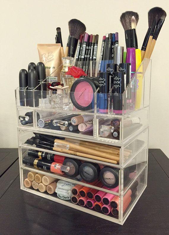 Acrylic Makeup Organizer Small 3 Drawer Modular by MakeupOrganizer