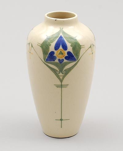 Found on www.botterweg.com - Glazed earthenware vase with stylised floral decoration design Bert Nienhuis executed by de Distel / the Netherlands 1903-'10