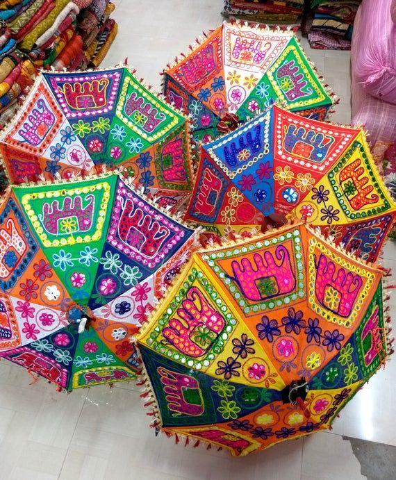 Indian Elephant Lot of 5 PC Handmade Umbrella Embroidery Umbrella Parasols