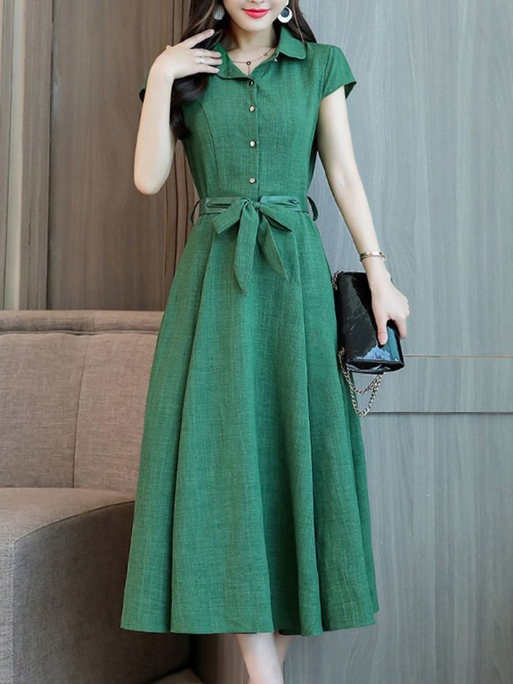 Date Turn Down Collar Plain Maxi Dress