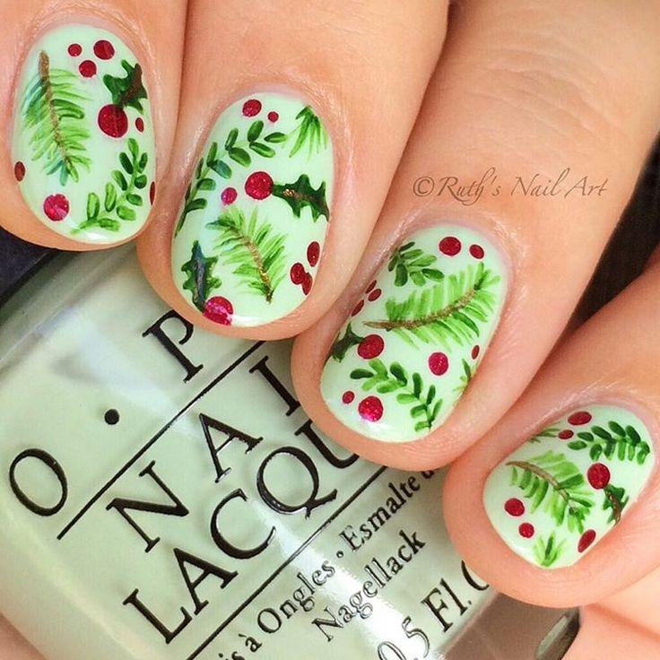 Christmas nails #ruthsnailart #nailart 🎄🌿