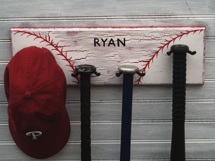 Nursery Baseball Decor 4 Hook Hanger Personalized Name Colors Childs Room Little League Baseball Bat Rack. $35.00, via Etsy.