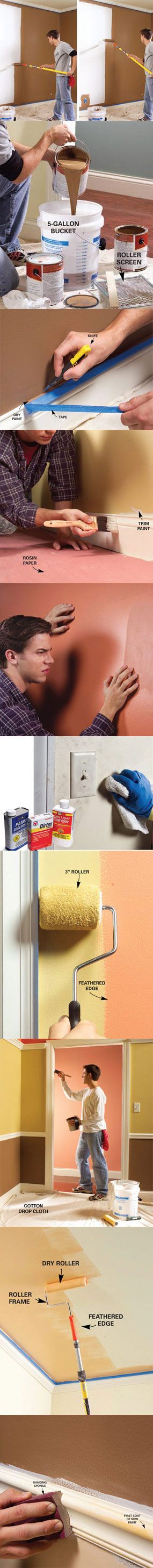 Here are 10 tips to make your painting projects go smoother and faster while giving you a professional-looking finish that you'll be proud of. You'll also find ingenious tips that can cut your cleanup time in half and extend the life of your paint brushes. Learn all 10 tips at http://www.familyhandyman.com/DIY-Projects/Painting/Painting-Tips/10-interior-house-painting-tips--painting-techniques-for-the-perfect-paint-job/View-All