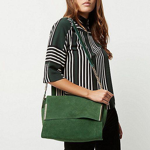 Grüne Wildlederhandtasche - Schultertaschen - Taschen/Geldbörsen - Damen