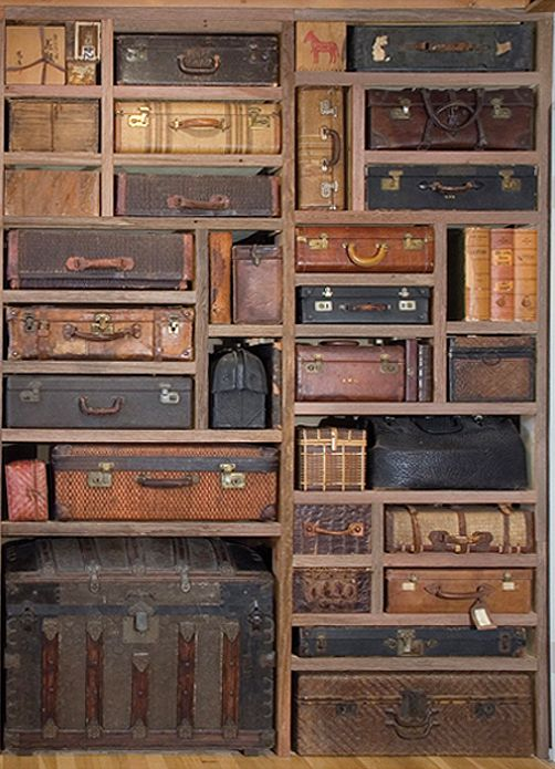 amazing work of art...suitcase wall from the studio of artist Gail Rieke via Cafe Cartolina/Poppytalk What a fun room this would be!
