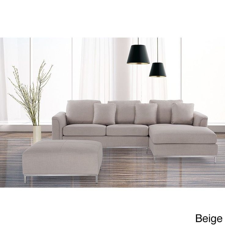 Oslo by Beliani Modern Fabric Upholstered Sectional Sofa (Oslo Beige Fabric)