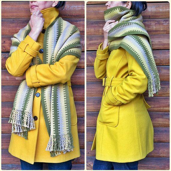 Mantón de las lanas echarpe, abrigo de lana, bufanda de manta, cama, pañuelo grande, tintes naturales, diseño mapuche, amarillo gris verde, rústico, étnico de chile,