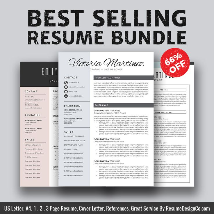 ► Best Selling Resume Bundle The Victoria B For Only $15 USD. Save 66% On Your Purchase Today! ► This best selling resume bundle includes 3 most popular & highest rated resume templates: The Victoria, The Emily, The Jenny. ( See listing photos ) ResumeDesignCo provides high quality and professional resume templates / CV templates with matching cover letter, extra experience template, references template, fonts guide, icons guide and easy-to-follow user guide that will help you stand ...