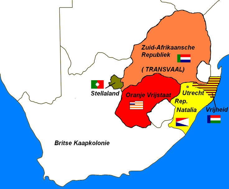 Map of the first Boer Republics, out of which the Transvaal en Orange Vrystaat were the most influential Republics