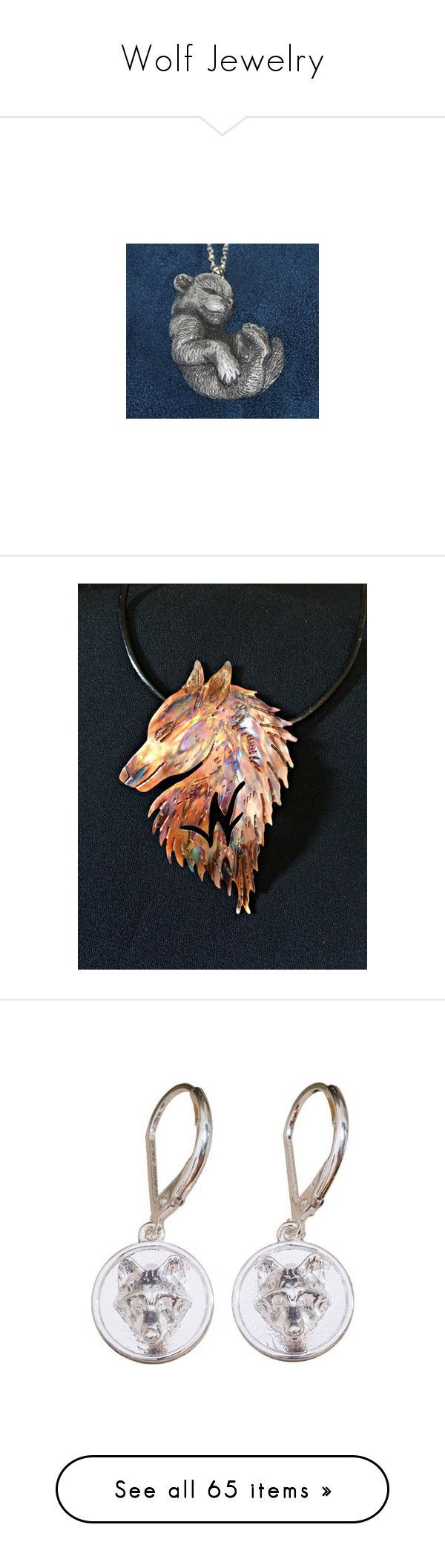 """Wolf Jewelry"" by thesassystewart ❤ liked on Polyvore featuring jewelry, necklaces, wolf necklace, wolf jewelry, earrings, earring jewelry, silver jewellery, polish jewelry, silver disc earrings and accessories"