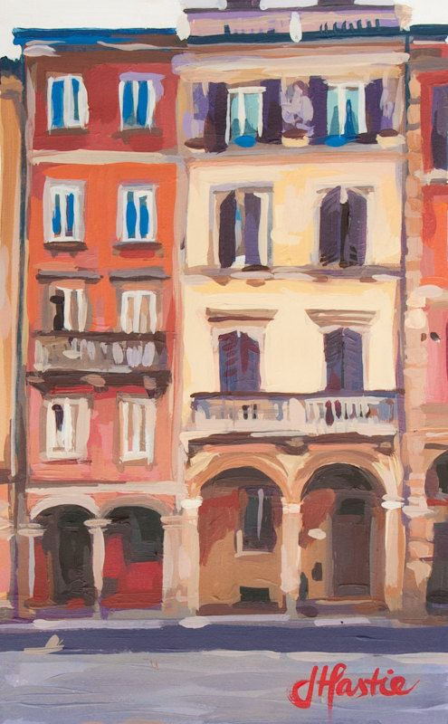 """Four Porticoes, Bologna Italy - 10"""" x 17"""" - Original Acrylic Painting on Paper"""