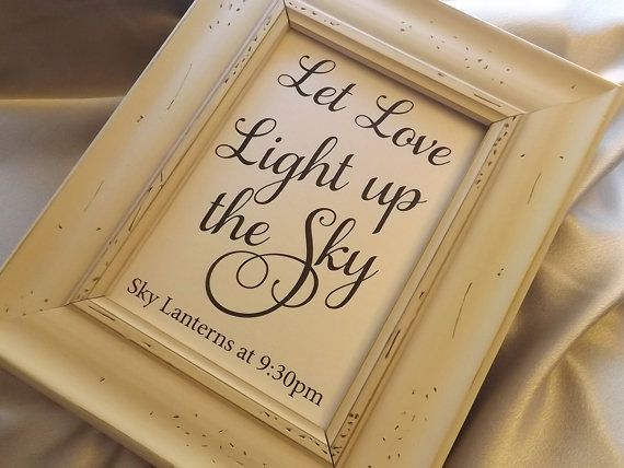 Let Love Light up the Sky  5x7 sign. Lantern Send Off by RecipeBox, $3.95