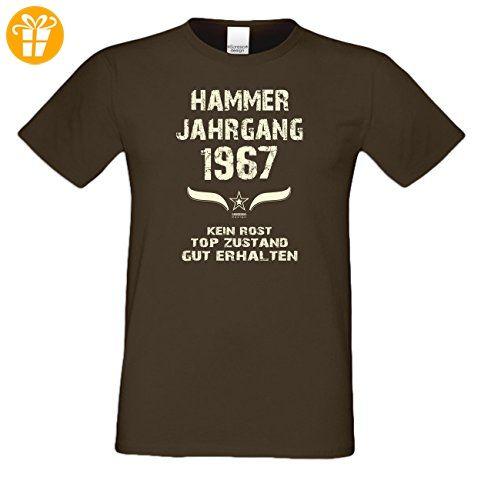 Zum 50. Geburtstag - Fun-T-Shirt Mega Cooles Männer-Oberteil als Geschenk mit Gratis Urkunde Hammer Jahrgang 1967 Farbe: braun Gr: XL (*Partner-Link)