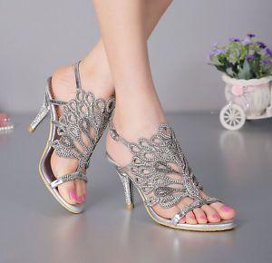 Women Peacock Rhinestone High Heel Wedding Bride Evening Dress Sandal Shoes P031