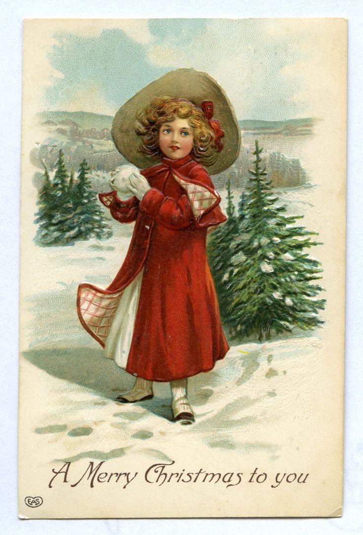 A Merry Christmas to you, c. 1910. Is this little girl in the middle of a snowball fight? @KentCoHistory