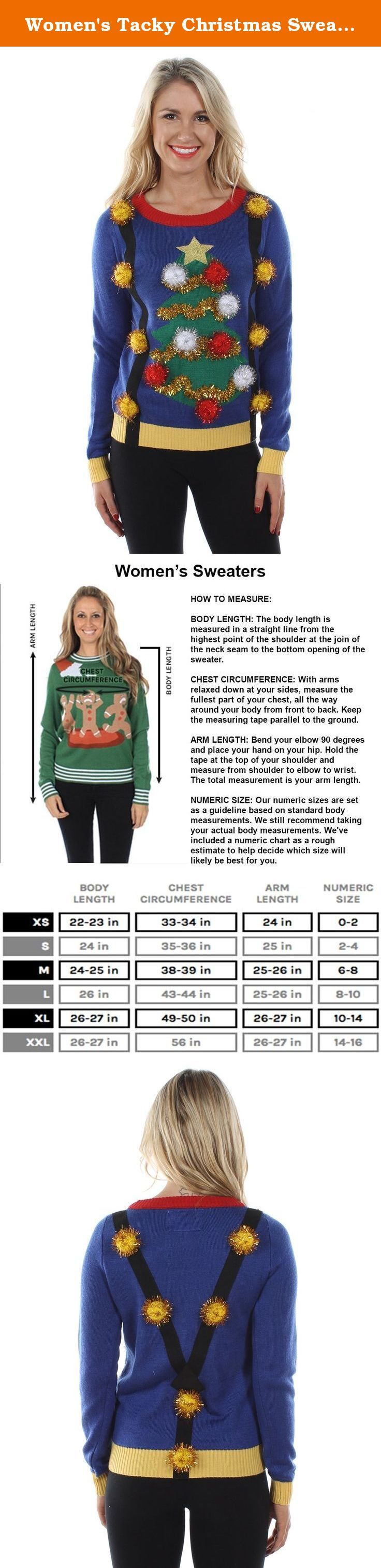 Women's Tacky Christmas Sweater - Christmas Tree Sweater with Suspenders L. Tipsy Elves Christmas Sweaters are perfect for your Ugly Christmas Sweater party, holiday pub crawls, the ski cabin, and they always make a great gift!. Our Christmas Sweaters are featured on ABC's Shark Tank, the TODAY Show, ABC's Wipeout!, People Magazine, Trendhunter, and much more!. See all of Tipsy Elves' Funny Christmas sweaters sold right here on Amazon. Shop over 50 exclusive designs for men and women! All...