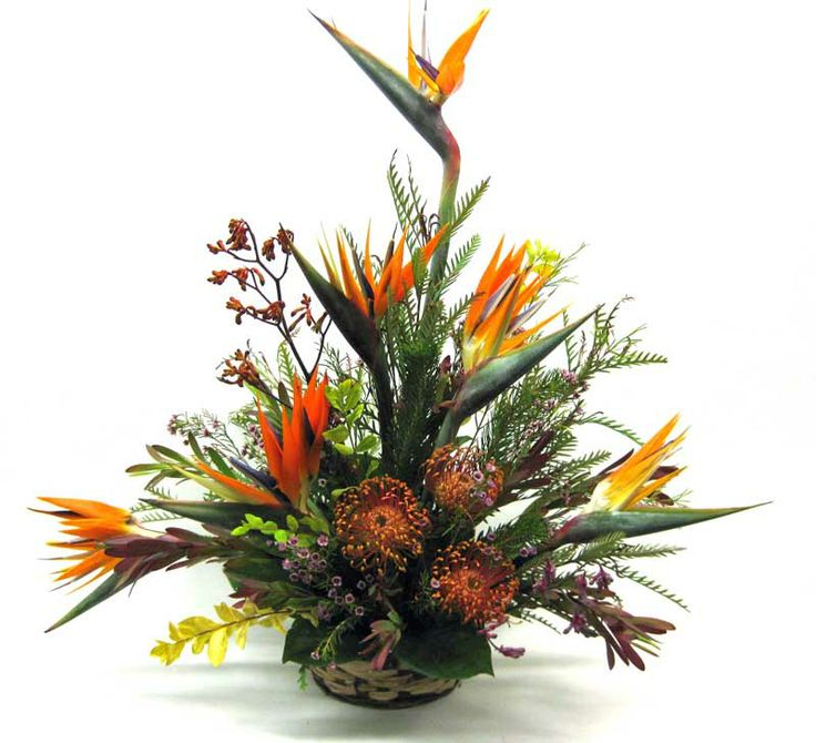 An arrangement of tropical flowers we created that includes birds of paradise and pincushion protea.