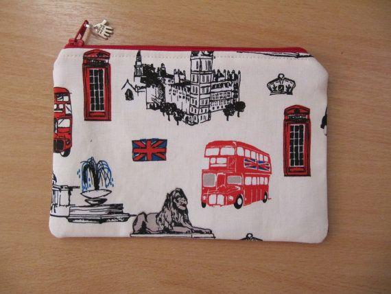 Love London?  Make Up Bag Cosmetic Purse British Invasion by BobbyandMeSew, White background version.