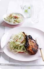 BBQ pork with cabbage and apple salad