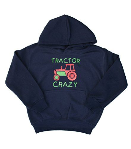 Navy hoodie with red and green print 'TRACTOR CRAZY'