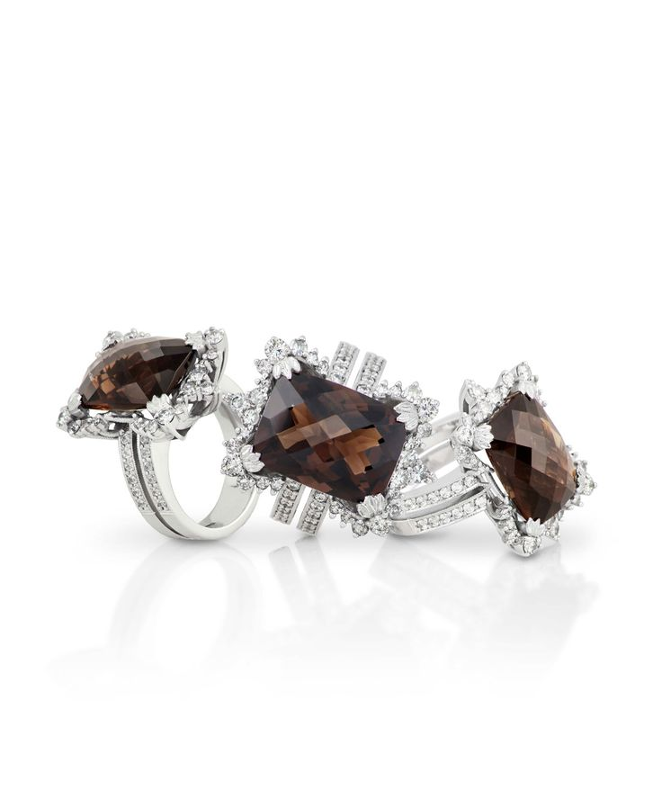 Jenna Clifford fine jewellery cocktail rings set with smokey quarts