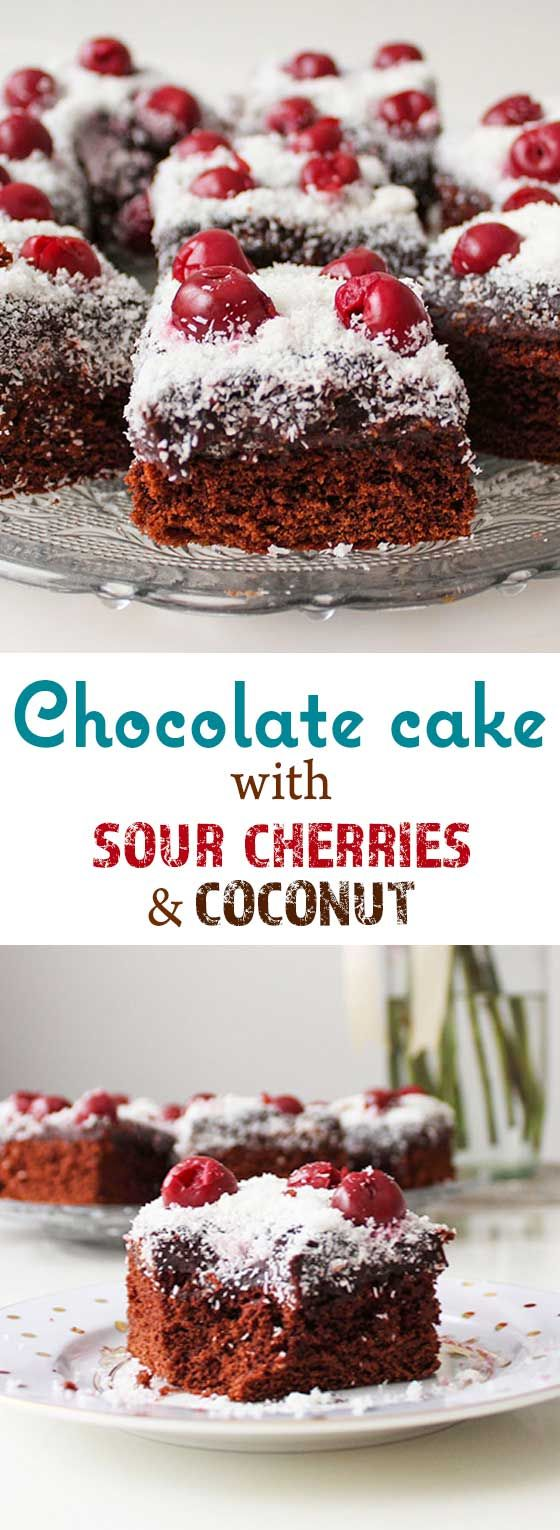 Chocolate cake flavored with rum essence, topped with sour cherries and shredded coconut.