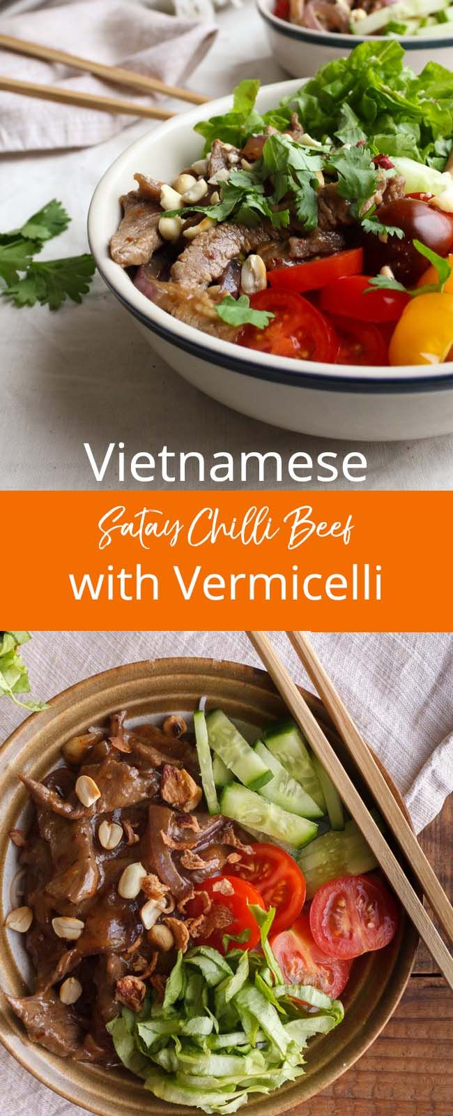VIETNAMESE SATAY CHILLI BEEF WITH VERMICELLI: Vietnamese food is one of my favourite cuisines and this dish was created by my mum when I was younger. It takes elements of Vietnamese food with fresh ingredients and flavoursome stir fried beef and serves up a satisfying one bowl dish.