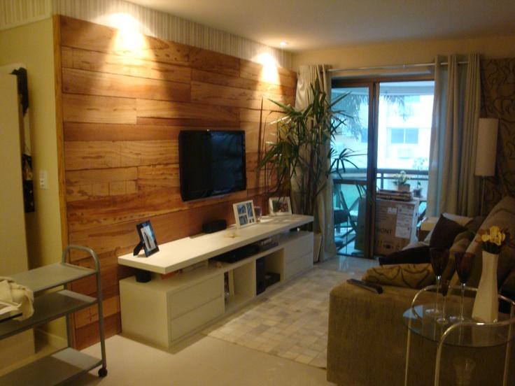 Home em MDF Branco com painel em madeira de demoliçãoO  ~ Wand Tv Jc Fultz