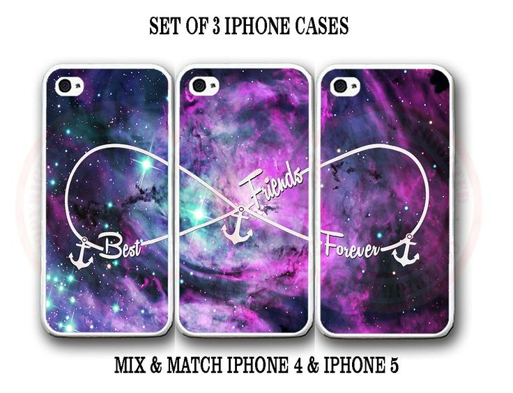 Custom Purple Pink Mint Nebula BFF Best Friends iPhone Case -3 iPhone 4 4s Cases: this is a set of 3 phone cases. The cases… #OnlineMarket