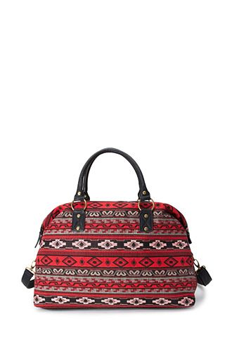 Western Redux Weekender | FOREVER21 -  Perfect personal/carry on bag for trips and when I feel like carrying everything (including to kitchen sink) with me. The red and black are speaking to me. They're saying edgy, dark, with a touch of vamp.