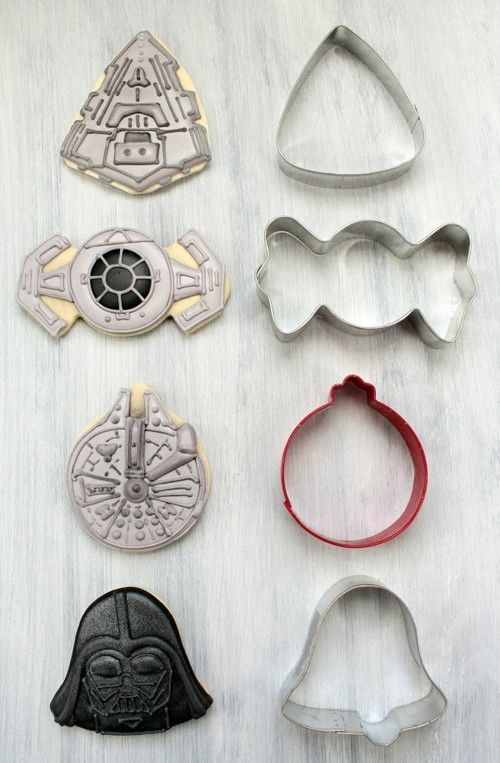 """truebluemeandyou: DIY Santa Storm Trooper Cookies from Simplistically Living. Nothing says """"Happy Holidays!"""" like serving your guests DIY Storm Trooper Cookies. These sugar cookies were made by combining skull and Santa hat cookie cutters.  For another Star Wars DIY Cookie Hack, check out Halloween and Christmas Cookie Cutters to Star Wars Characters from Sweet Sugar Belle here."""