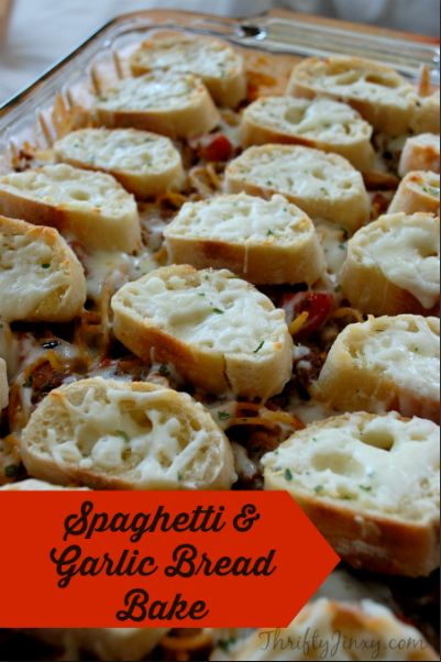 This Spaghetti and Garlic Bread Bake Recipe combines the components of this classic American meal into one delicious casserole baked in the oven.