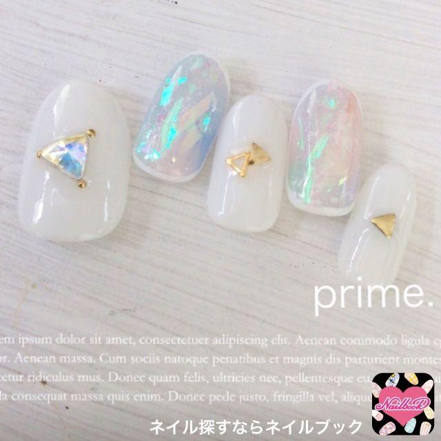 ネイル 画像 prime. 浅草橋 1500809 カラフル 白 タイダイ 夏 春 ミディアム