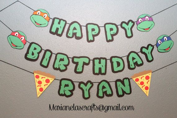 Ninja Turtles Birthday Banner, Custom TMNT name Banner