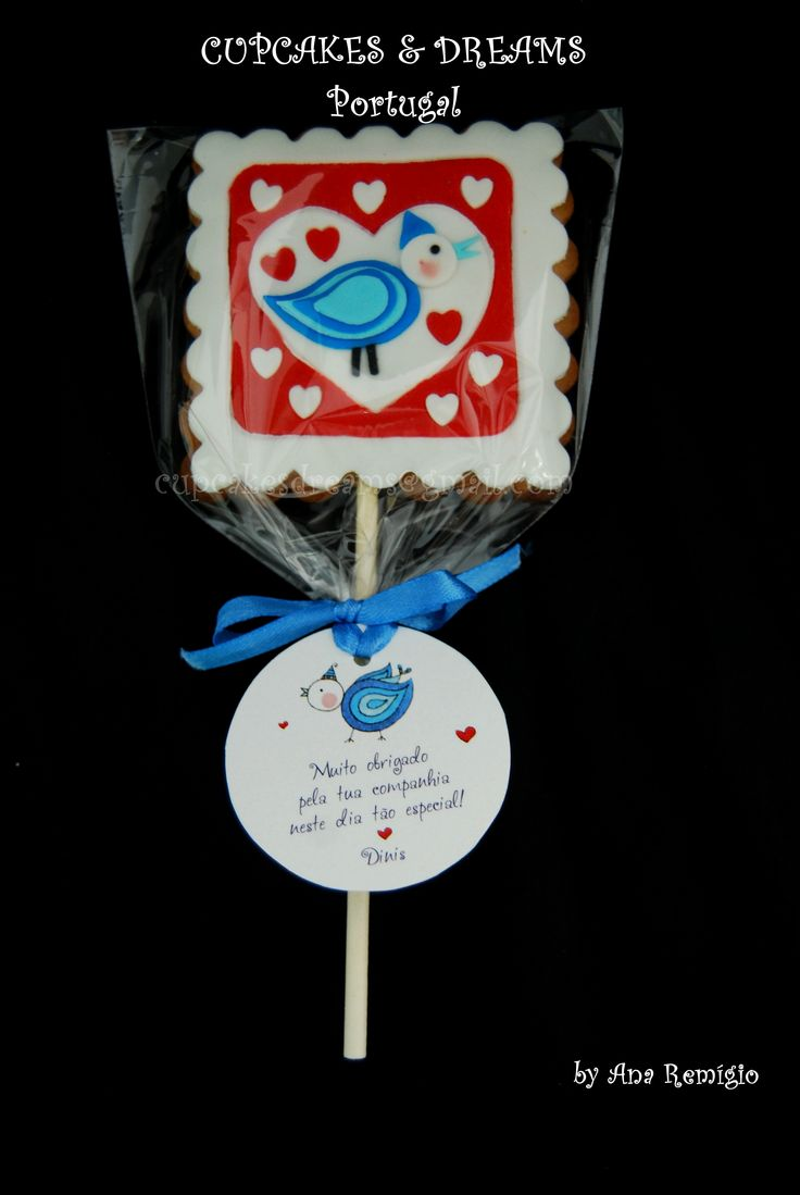 CHRISTENING LOVE BIRDS COOKIES - by Ana Remígio CUPCAKES & DREAMS Portugal