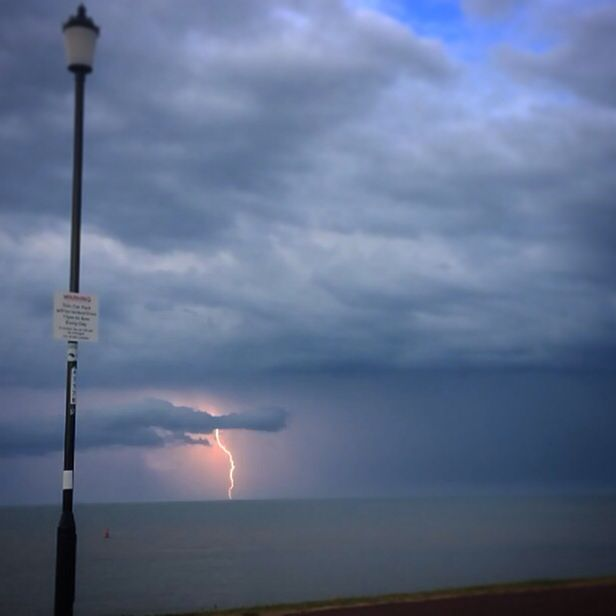 Storm off the Norfolk/Suffolk coast, Gorleston-on-sea.  Very hard to capture a lightning bolt with an iPhone 5c, but film it and you can pick a frame when you Instagram the video, take a screen shot, then crop that!