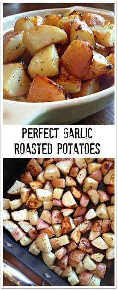 PERFECT GARLIC ROASTED POTATOES - SO SIMPLE TO MAKE!!  Awesome tried & true recipe - a favorite go-to for potatoes. Perfect crisp on the outside. DELICIOUS!! | SweetLittleBluebird.com