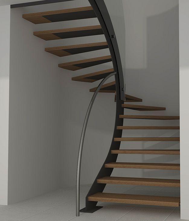 escalier demi tournant suspendu en bois