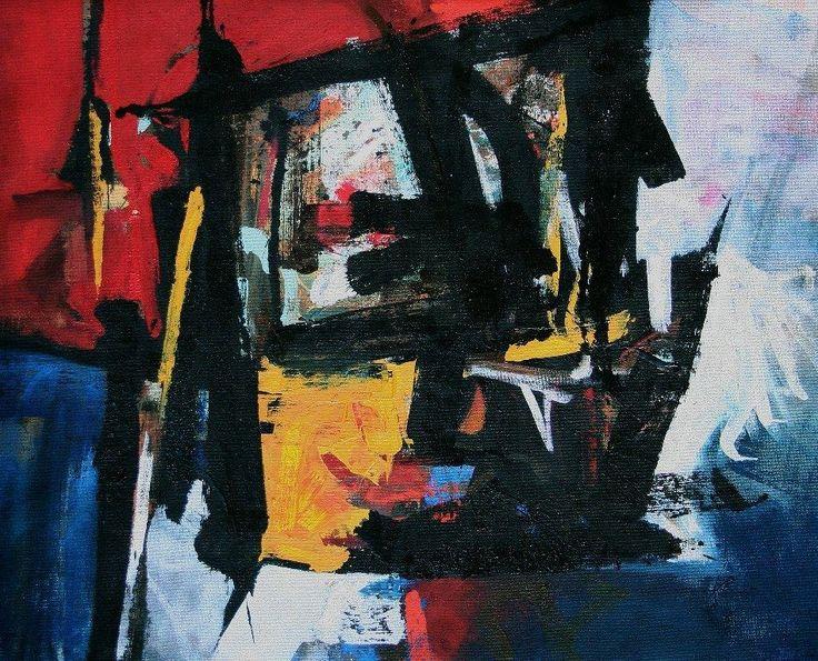 Abstract Painting - Everett Duarte. Arangement in Black_100x125cms_oil on hessian